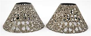 Gorham Pair Sterling Lamp Shades