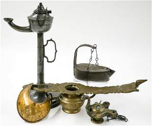 Group of Antique Oil Lamps