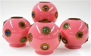 Group of Pink Jeweled Glass Lamp Shades (4)