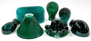 Vintage Green Glass Lamp Shades (7)