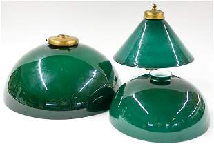 Vintage Green Glass Lamp Shades (3) Emeralite