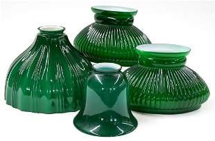 Vintage Ribbed Green Glass Lamp Shades (4)