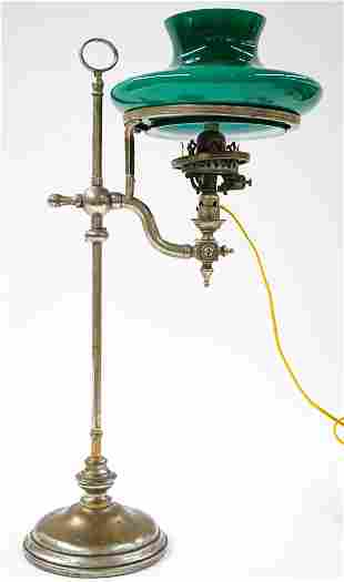 Metal Converted Oil Lamp with Green Shade