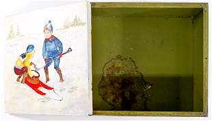 A Folk Art Painted Biscuit Tin by D. Burnette