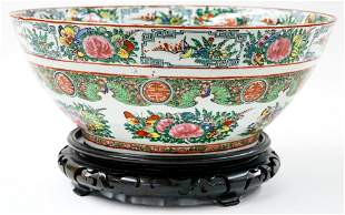Vintage Chinese Rose Medallion Bowl with Stand
