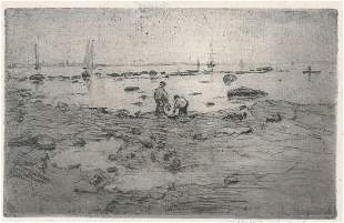 Will J. Quinlan Etching Signed [Clam Diggers]