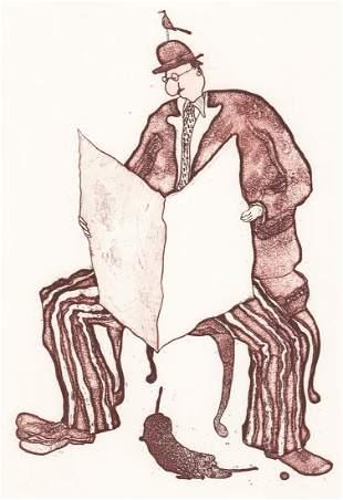 Roberto Weil Etching [Man with Dog, Modern]