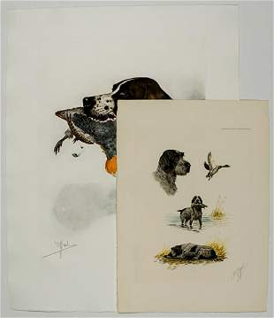 Boris Riab (2) Color Etchings Signed [Bird Dogs]