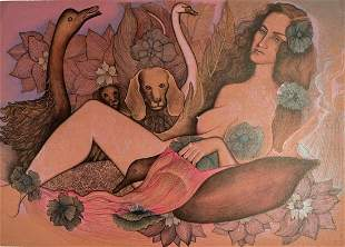 Alice Asmar Signed Lithograph [Nude, Flowers}