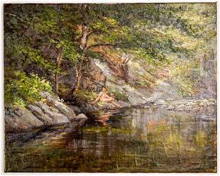 Frederick B. Kress Oil on Canvas [Lady at Creek]