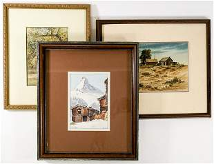 Three Small Framed Watercolors