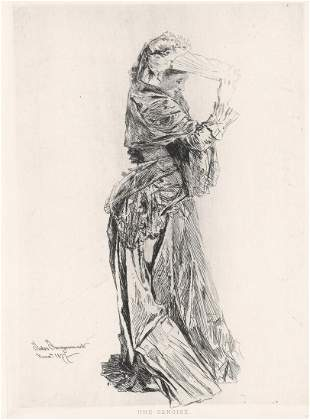 Jules Jacquemart Etching 1877 [Lady With Fan]