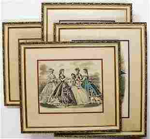 Set of Four Framed French Fashion Prints