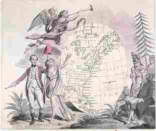 Early Engraving Hand-Colored [Map, People]