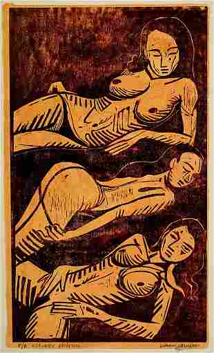 Guillermo Maldonado Large Signed Wood Engraving