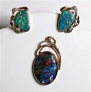14k Gold Opal Earrings, 10k Opal Pendant