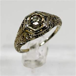 18k Art Deco White Gold and Diamond Ring