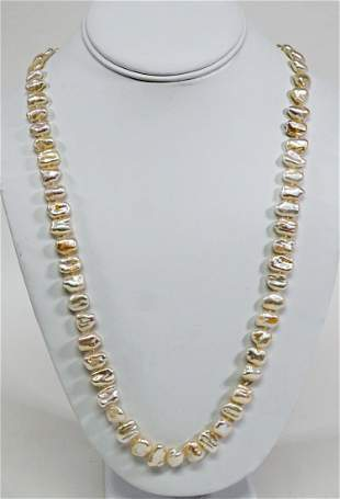 Gump's Pearl Necklace Signed
