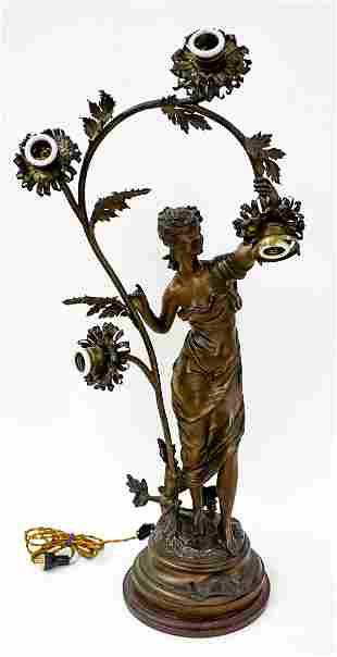 Printemps French Art Nouveau Lamp Signed