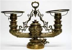 Gilt Brass Antique Double Student Lamp