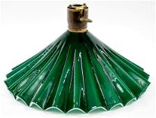 Vintage Green Glass Lamp Shade [Pleated]