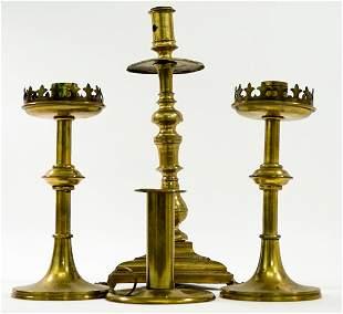 Antique (4) Brass Candlestick Holders