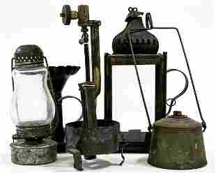 Antique (5) Oil Lamp Parts and Lanterns
