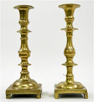 Pair Early Brass Candlestick Holders