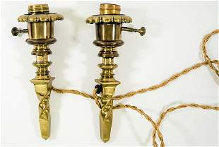Unusual Pair of Antique Brass Light Fixtures