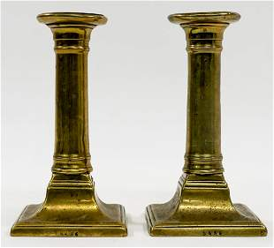 Pair 19th Century Brass Candlestick Holders