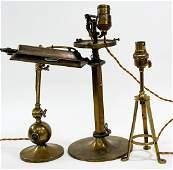 Vintage (3) Brass Desk Lamps