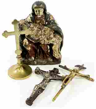 Antique (4) Crucifixes and Carving [Religious]