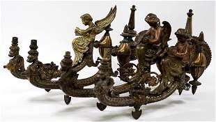 Pair Antique Gilt Bronze Figural Gas Sconces