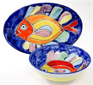 La Musa Italian Ceramic Fish (2) Platter and Bowl