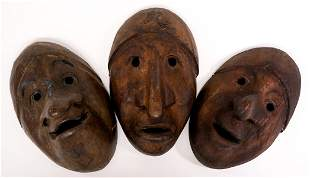 Vintage Native Masks (3) Carved Wood
