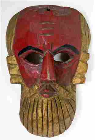 Vintage Wood Carved Mask Painted