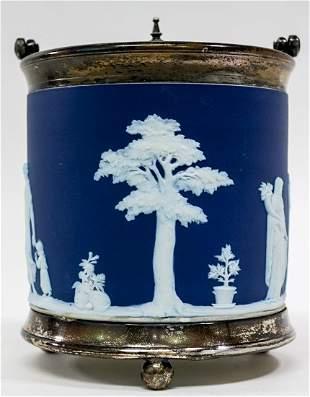 Wedgwood 19th C. Blue Dip Biscuit Barrel