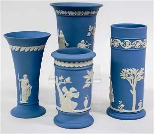 Wedgwood (4) Blue Jasperware Vases