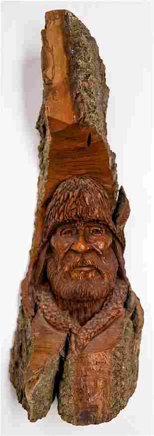 Pat Welliver 'Mountain Man' Wood Carving