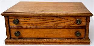 Antique Oak Two-Drawer Parts Cabinet