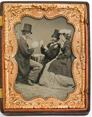 Tintype Gentlemen Playing Poker Quarter Plate