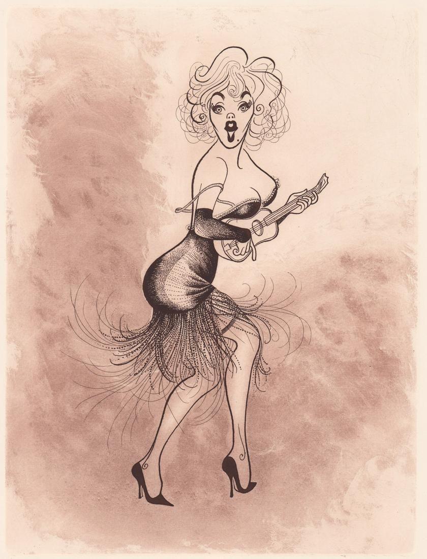A.P. Al Hirschfeld Color Etching Marilyn Monroe