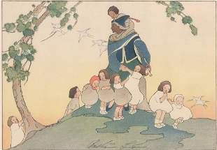 Bertha Lumn (Lum) Signed Woodblock The Piper, 1918