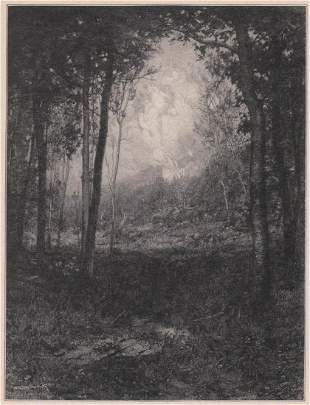 Henry Wolf Signed Wood Engraving c. 1905