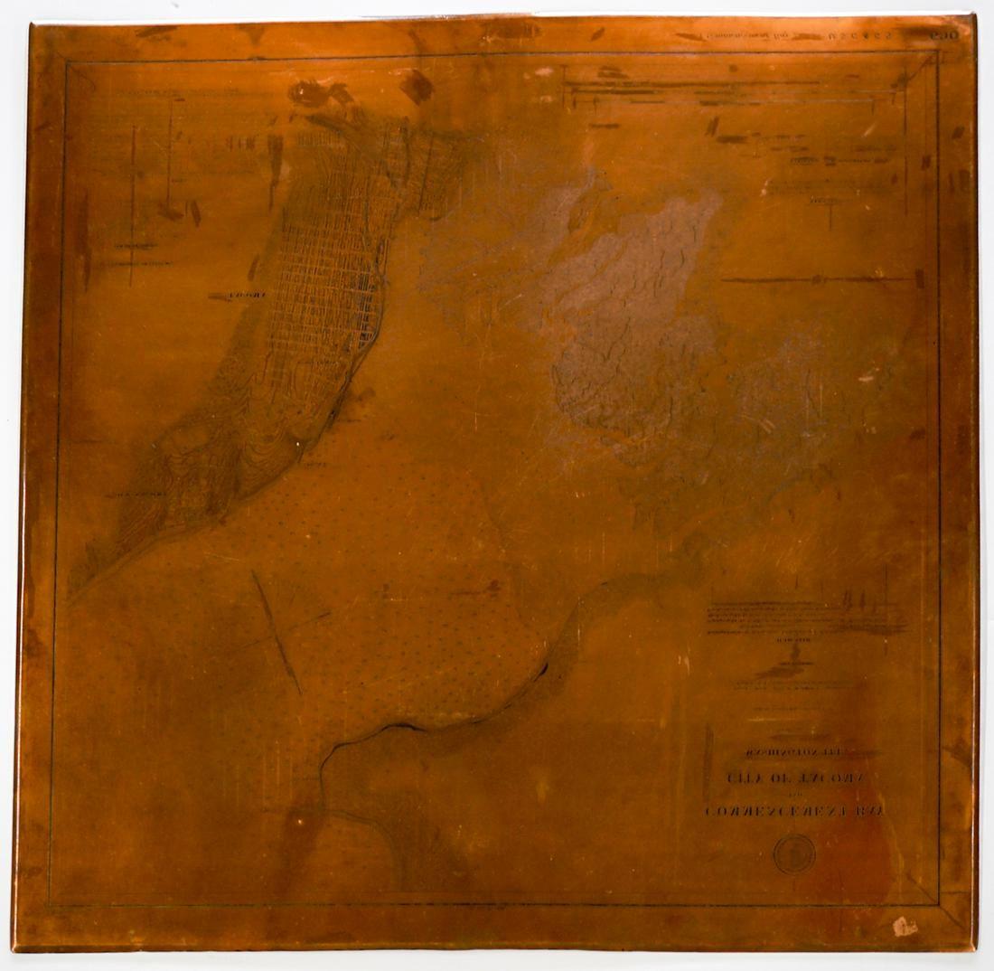 Tacoma, Washington 1888 Copper Map Printing Plate