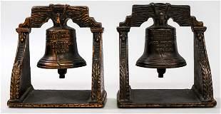 Liberty Bell Bookends (2) Bronze