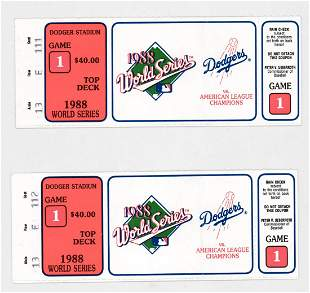 [Kirk Gibson] 1988 World Series Game 1 Tickets