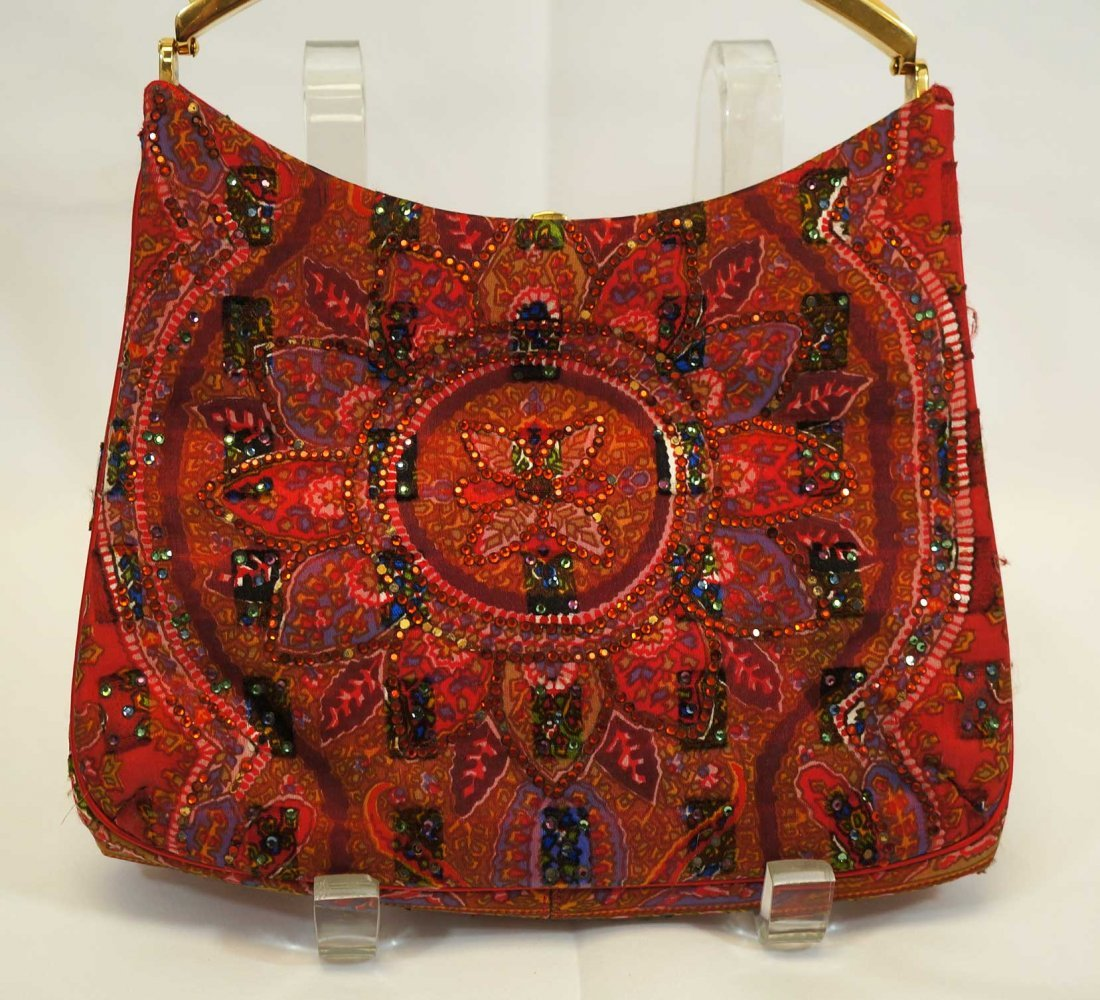 Judith Leiber Beaded Red Paisley Evening Bag