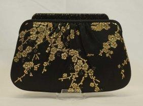 Judith Leiber Black & Gold Floral Evening Bag