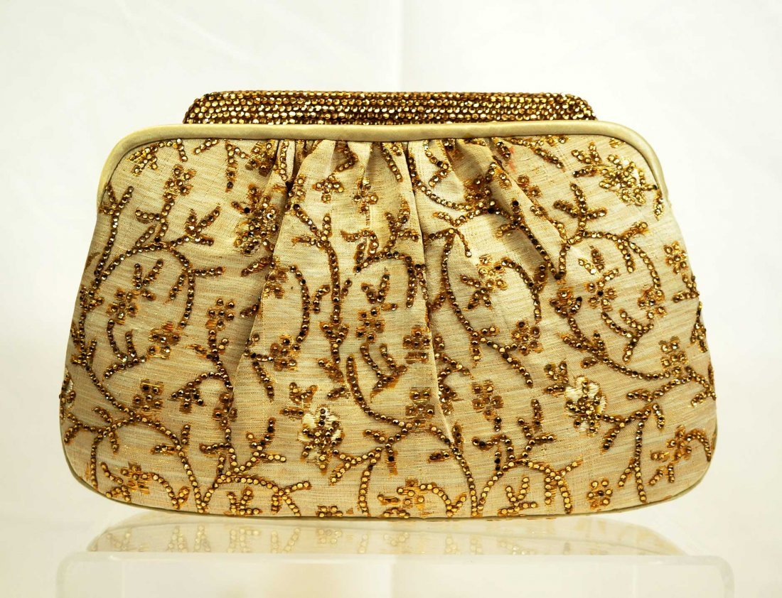 Judith Leiber Silk Gold Floral Bag